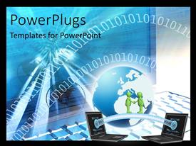 PowerPlugs: PowerPoint template with two connected laptops, businessman handshake and binary numbers in blue background