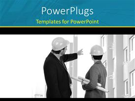 PowerPoint template displaying two construction engineers with architectural drawing points at building