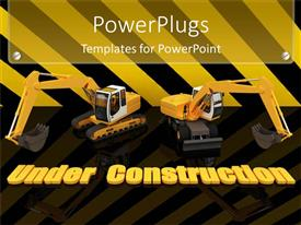 PowerPlugs: PowerPoint template with two construction machineries atop of yellow under construction words written on striped ground and yellow with black striped background