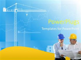 PowerPoint template displaying two construction workers with bluish background and a machine