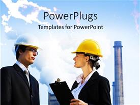 PowerPlugs: PowerPoint template with two construction workers with factory in the background