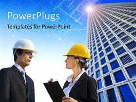 PowerPoint template displaying two construction workers with a skyscraper in the background
