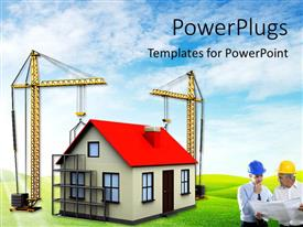 PowerPoint template displaying two cranes building house over green background with architect in front