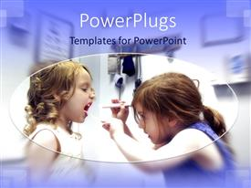 PowerPlugs: PowerPoint template with two cue girls playing doctor patient in their room