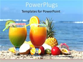 PowerPlugs: PowerPoint template with two cups with fruit drinks and various fruits on a beach