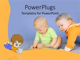 PowerPlugs: PowerPoint template with two cute babies crawling and playing on the floor