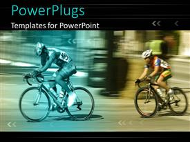 PowerPoint template displaying two cyclists with different filters and motion blur