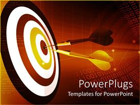 PowerPlugs: PowerPoint template with two darts hitting the Bulls Eye of a dart board