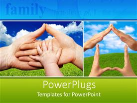 PowerPlugs: PowerPoint template with two depictions of hands, dad, mom and kid hands stacked on each other, four hands creating the shape of a house