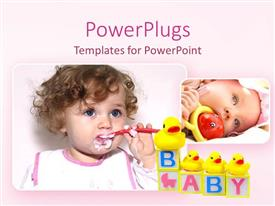 PowerPoint template displaying two depictions of lovely babies newborn baby with toy baby girl eating with little spoon, baby cubes with four yellow rubber ducks