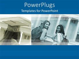 PowerPlugs: PowerPoint template with two depictions of university students, one graduating girl with graduation cap and two girl students with school bags smiling at the camera