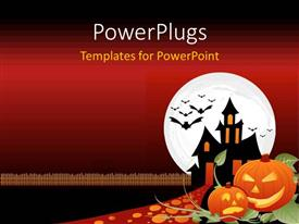 PowerPlugs: PowerPoint template with two designed orange pumpkins cut for a Halloween night
