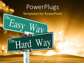 PowerPlugs: PowerPoint template with two different signs with clouds in the background