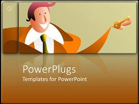 PowerPoint template displaying two dimensional cartoon man with key in hand