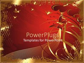 PowerPlugs: PowerPoint template with two dimensional depiction of butterfly flying in red sky