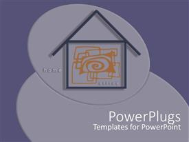 PowerPlugs: PowerPoint template with two dimensional drawing of house on grey