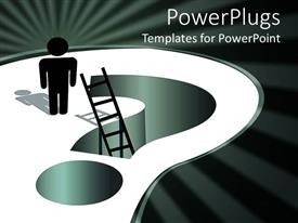 PowerPoint template displaying two dimensional man climbing ladder over question mark sign