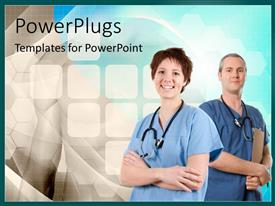 PowerPlugs: PowerPoint template with two doctors with a bluish background