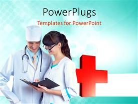 PowerPlugs: PowerPoint template with two doctors looking at a medical report