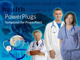 PowerPlugs: PowerPoint template with two doctors and a nurse smiling beside earth globe and stethoscope