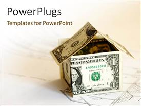PowerPlugs: PowerPoint template with two dollar bills forming a house shape on a house plan