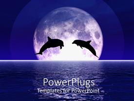 PowerPlugs: PowerPoint template with two dolphins jump out of the sea centered in the moon