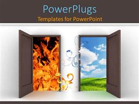 PowerPlugs: PowerPoint template with two doors opened towards totally different scenarios