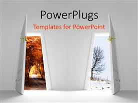 PowerPlugs: PowerPoint template with two doors with trees in the background
