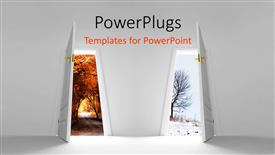 PowerPoint template displaying two doors with trees in the background