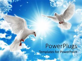 PowerPlugs: PowerPoint template with two dove looking down from a bright shiny blue sky