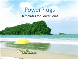 PowerPoint template displaying two easy chairs placed on a beach