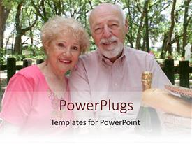 PowerPlugs: PowerPoint template with two elderly humans smiling with a champagne bottle beside them
