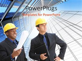 PowerPoint template displaying two engineers with building blueprints between tall architectural structures