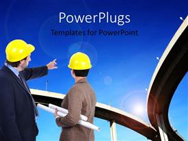 PowerPlugs: PowerPoint template with two engineers discussing and pointing to Highway overhead bridge