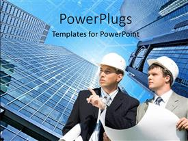 PowerPoint template displaying two engineers with skyscrapers in the background