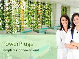 PowerPlugs: PowerPoint template with two female nurses in white scrubs standing in front of row empty beds and large window