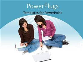 PowerPoint template displaying two female students forming a study group and reading