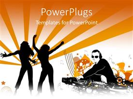 PowerPlugs: PowerPoint template with two females figures danicing and a DJ playing music