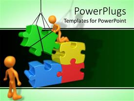PowerPlugs: PowerPoint template with two figures fixing gigantic puzzle pieces using crane in green background