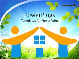 PowerPoint template displaying two figures high five, daisies, grass, tree branches