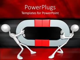 PowerPlugs: PowerPoint template with two figures holding magnets and trying to get away from each other