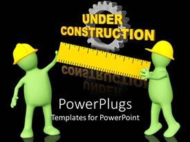 PowerPlugs: PowerPoint template with two figures holding the ruler with gear in the background