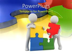 PowerPoint template displaying two figures joining the puzzle pieces