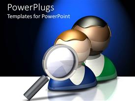 PowerPlugs: PowerPoint template with two figures with a magnifying glass