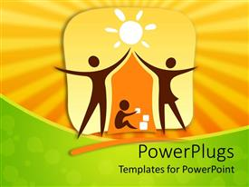 PowerPlugs: PowerPoint template with two figures mom and dad making a house shadow over child symbol