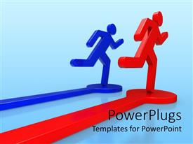 PowerPoint template displaying two figures racing each other leaving a trail