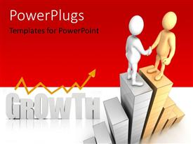 PowerPoint template displaying two figures shaking hands with the word growth in the background