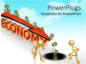 PowerPoint template displaying two figures storing money with a depiction of economy