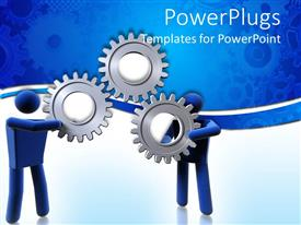 PowerPlugs: PowerPoint template with two figures trying to control a gear