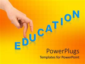 PowerPlugs: PowerPoint template with two fingers from a hand walking up an education text